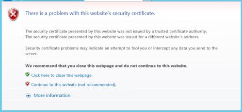 Invalid Certificate Error